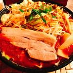 天神矢 - 「モヤシ辛味噌(850円)」の「辛さ3」