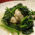 相思豆 - 牡蠣とほうれん草のニンニク炒め