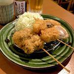 アグーとんかつ コション - *かつベロ(¥1,000) (ドリンク3杯+串かつ三種盛合せ)