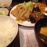 91045304 - 牛カツと茄子肉味噌定食