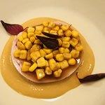 オルディヴェール - ラパンのガランティーヌ 玉蜀黍のピュレ 玉蜀黍乗せ