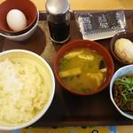 すき家 - 「たまかけ朝食」250円+「牛小鉢」100円。