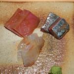 荒木町 きんつぎ - 刺身の盛合わせ  中トロ、鯵、真鯛