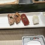 鮨・割烹 花絵巻 - 烏賊、鮪赤身、鯛、ヒラス炙り!