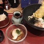 udonizakayaamamenzou - ミニ明石天盛りぶっかけうどん定食