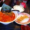 まるちゅう - 料理写真:餃子セット⇒赤丸ラーメン+焼き餃子+白ご飯=840円(税別)。