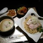 鶏Soba 座銀 - 鶏つけSoba大980円、鶏込みご飯小150円