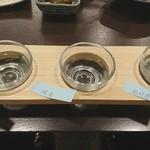 海鮮居酒屋 海男 - 日本酒三種おまかせセット8(2018/2/22)