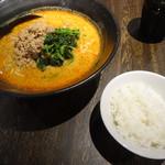 地獄の担々麺 護摩龍 - 地獄の担担麺の5辛+小ライス