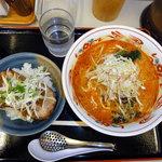 竜胆 - らーめんセット 担々麺&チャーシュー丼