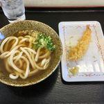 山本製麺 - かけうどん300円 海老天150円