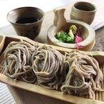 床瀬そば - ★★★☆ そばセット 竹器のそば 薬味は柚子皮と山葵、葱