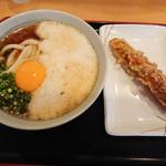 91126516 - とろ玉うどん(500円)                       ちく天(120円)