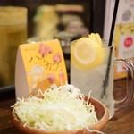 ねぎま 三ぞう - 名物 生レモンサワー@490円 + お通し