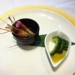 天厨菜館 - 海老の紹興酒漬けとゴーヤの漬物