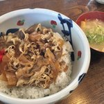 そば処ふるさと - 料理写真:牛丼(味噌汁付き)950円+大盛100円