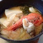"""鱗晃 - うに定食の""""浜鍋"""";厨房で仕立てて供されます @2018/08/18"""