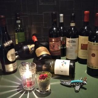ワインはグラスで650円~、ボトルは3千円台~のご用意♪