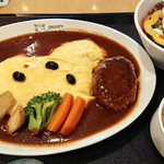SNOOPY茶屋 由布院 - スヌーピーハンバーグオムライス 1598円