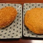豚捨 - コロッケ(右)とミンチカツ(左)