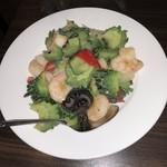 點點心 - 海老とゴーヤときくらげの炒め物