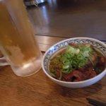 広島焼 とし - とりあえずのビールのアテに 牛スジ煮込み