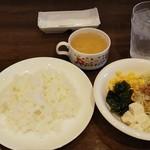 カウカウステーキ 御幸店 - サラダ、スープ、ライス(2018.08.19)
