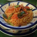 9123312 - 魚介のミートボールと小松菜のトマトソース¥1050
