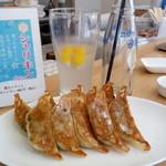 MIKIYA GYOZA STAND - 料理写真:焼餃子10個500円とキンキンに冷えたシャリキンレモン400円