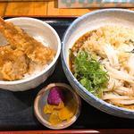 91278842 - 日替りメニュー                       鶏•ちく天丼(ごはん少)、ぶっかけうどん大盛