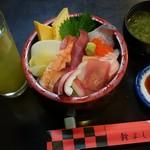 91288370 - 海鮮丼、あおさ味噌汁。コーヒーゼリーも付く