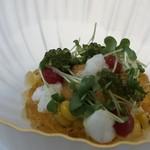 91290227 - *夏らしいさわやかな品。玉蜀黍ムースは甘く、雲丹と共に頂くと美味しい。