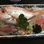 食事処 おおはし - おまかせ刺身(鯛、ぶり、まぐろ)