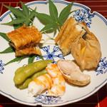 京ダイニング 吟 - 穴子の照焼きと鰻の白焼きの合盛り