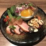 91301851 - 炙り鶏皮ポン酢&スモーク鴨肉~梅肉みぞれがけ~