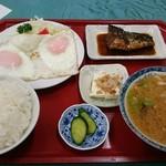 食堂SS - とん汁(さば煮付)定食 640円 目玉焼き 260円
