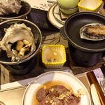 龍宮城スパホテル三日月 - 夕食のアワビなど