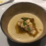 サンタキアラ - 知多の茄子にうちわ海老のスープ 下に春日井ポルチーニ茸のソテー