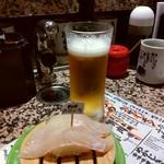 根室花まる - 羅臼産おひょうと生ビール