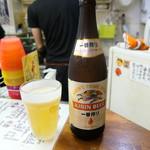 わいたこ - 瓶ビール、コップひえひえ