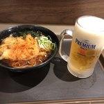 富士そば - かき揚げ蕎麦と生ビール
