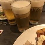 Okuraresutoranyokohamabuffeandodainingusafaia - 生ビールで何かに乾杯