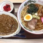 山福食堂 - ラーメン(醤油)600円とミニカツカレー550円