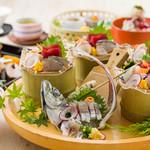 なすび総本店 - 倉沢鯵、駿河湾皿鉢と加茂茄子万頭