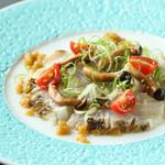 【期間限定!秋のお薦め】炙り真鯛のカルパッチョ 燻製焼き茄子ソース
