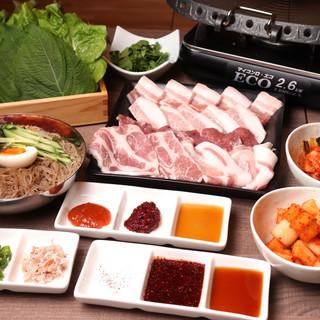 サム(ラム)ギョプサルコースで羊肉も豚肉も野菜も食べ放題!