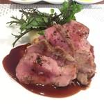 ビストロ ダイア - 北海道恵庭市産放牧豚肩ロースのロースト柚子胡椒風味の赤ワインソース