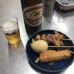 マーちゃん - おでん(たまご・ごぼう天・牛すじ)と瓶ビール