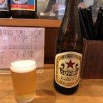 やきとん たくちゃん - 「赤星(サッポロラガー)中瓶」530円)