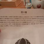 博多担々麺 とり田 - 紙エプロンに「担々麺」についての説明が。